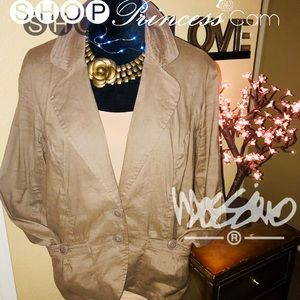 🌟Mossimo Taupe/Grey Linen LS Jacket Size XL